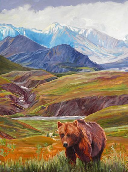 Original Oil Painting of Grizzly Bear in Denali