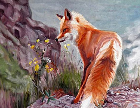Original Oil Painting of Red Fox and flowers