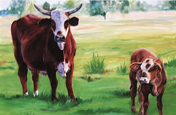 Original Oil Painting of cow and calf