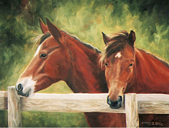 Original oil painting of two horses