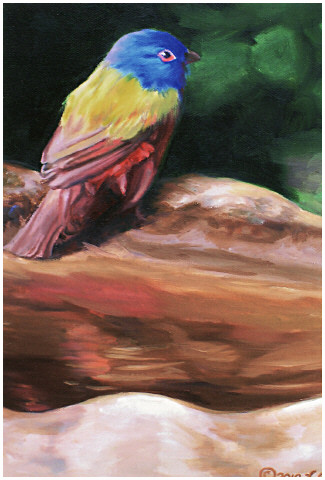 Original oil painting of Painted Bunting