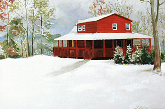 Original oil painting of a cabin in the North Carolina mountains
