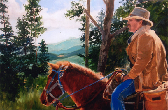 Original Western oil painting of cowboy and his horse