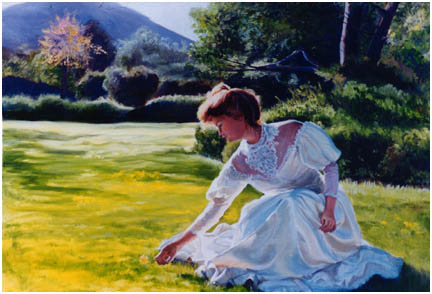 Original oil painting of young woman in meadow