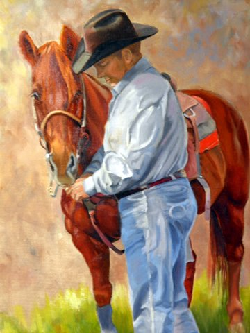 Original oil painting of a working cowboy and his horse