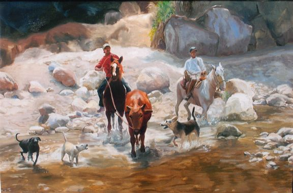 Original western art oil painting of quarther horses, cowboys and dogs