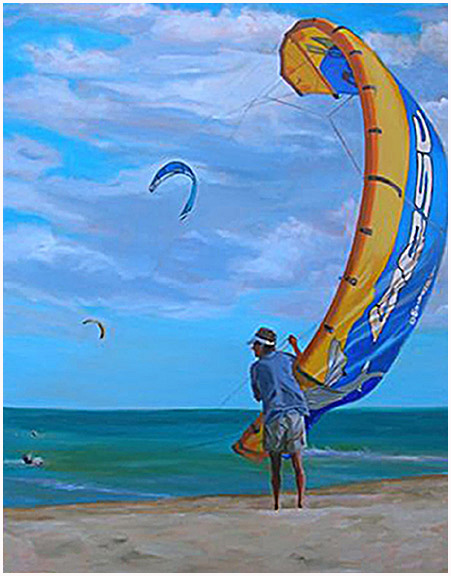 Original oil painting of of kiteboarder or kitesurfer