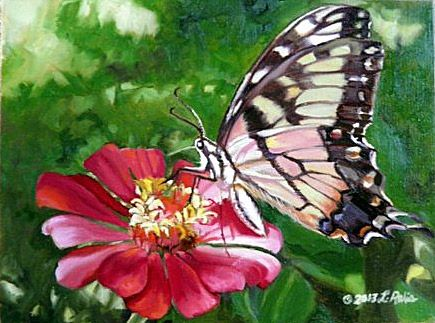 Original oil painting of Eastern Tiger Swallowtail butterfly