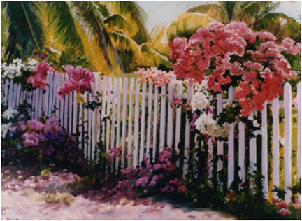 Original oil painting of of bougainvillea on fence