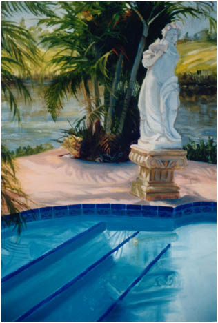 Original oil painting of Greek stated by blue pool