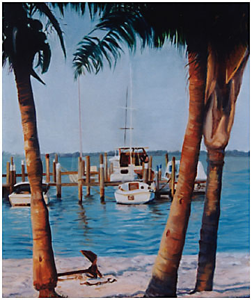 Original oil painting of boats achored in Jensen Beach, FLorida