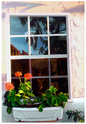 Original oil painting of  flowers in sunny window