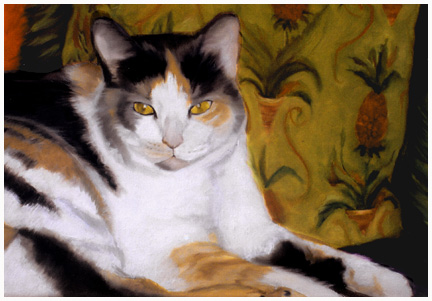 Original oil painting portrait of a calico cat