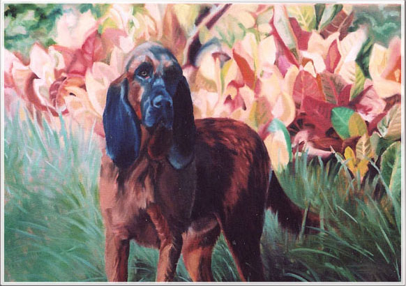 Original oil painting of a bloodhound amid flowers