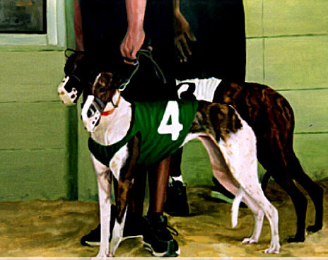 Original oil painting of 2 Greyhounds ready for a race