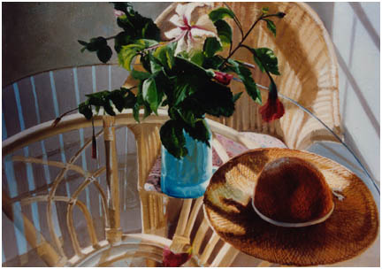 Original oil still life of patio table with hibiscus and gardening hat